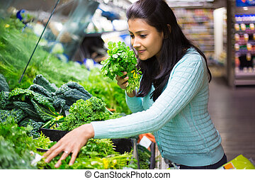 Picking the right veggie - Closeup portrait, beautiful,...