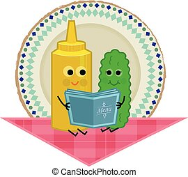 Pickle and Mustard - Cute clip art of pickle and mustard...