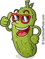 A Groovy Pickle Cartoon Character with a bad Attitude wearing Sunglasses and giving an enthusiastic Thumbs Up