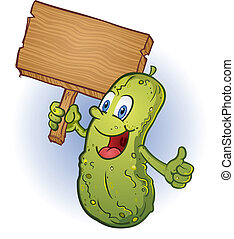 A cheerful pickle character holding a wooden sign and giving the thumbs up hand gesture