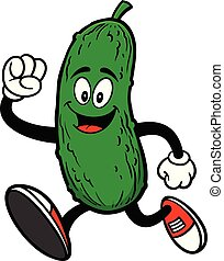 Pickle Running - A cartoon illustration of a Pickle Mascot.