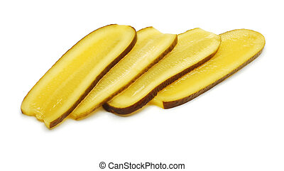 pickle slices isolated on white