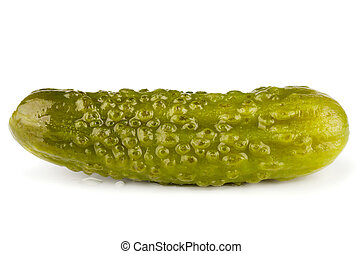 Pickle - Small pickled green cucumbers isolated on white