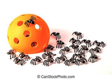 Pickleball Halloween spiders