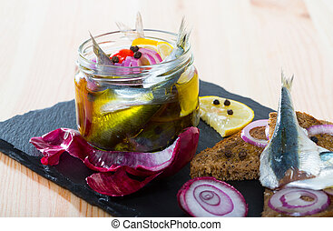 Pickled anchovies in homemade marinade