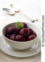 pickled baby beetroot in a bowl