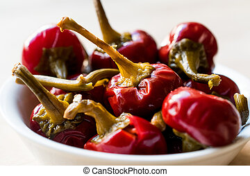 Pickled Cherry Pepper Pickles in bowl.