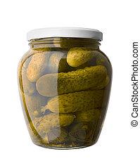 Pickled cucumbers in a glass jar