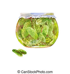 Pickled cucumbers in a jar. Watercolor illustration