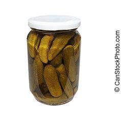 Pickled cucumbers in glass jar
