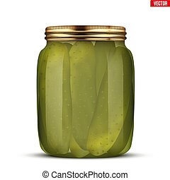 Pickled cucumbers in glass jar. Pickle Juice Trend Drink....