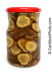 Pickled cucumbers in glass jar