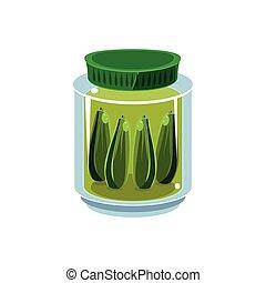 Pickled Cucumbers  In Transparent Jar