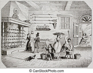 Pickled eels preparation in Comacchio, Italy, old...