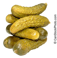 A pile of pickled gherkins, isolated on a white background.