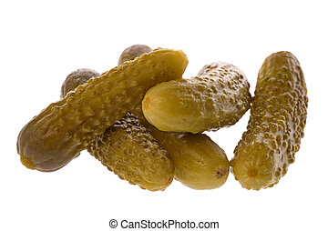 Isolated macro image of pickled gherkins.