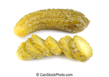 Pickled gherkins, white background