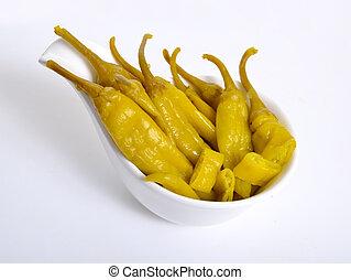 pickled, macedônio, ou, grego, pimenta quente, branco,...