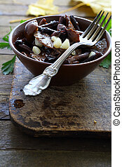 pickled mushrooms in a bowl