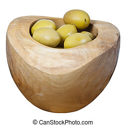 olives in wooden bowl close up isolated on white