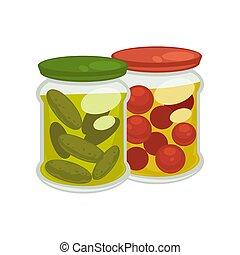 pickled, pepinos, tomates