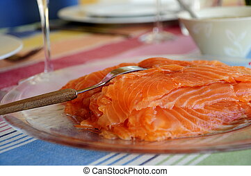 Pickled Salmon - Salmon cured in salt and sugar