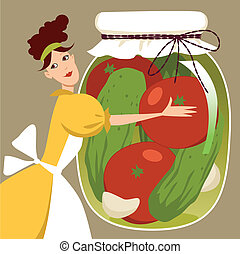 Pickled vegetables - Cute cartoon woman holding a giant...