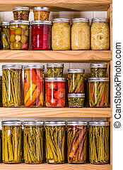 Pickled vegetables in the pantry - Pantry shelves loaded...