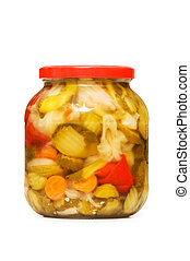 Pickles jar isolated on the white background