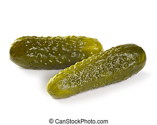 Pickles on white background