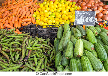 Pickles, peas and other vegetables for sale