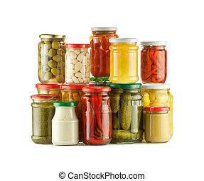 Stack of preserved vegetables, pickles on white background