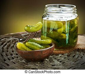 pickles., stilleben, gurkor, salta, gherkins.