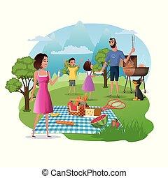 picknick, familie, natur, wanderung, vektor, glücklich