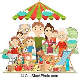 picknick, familie, vektor