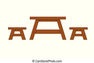 tisch holz picknick holztisch picknick karikatur abbildung. Black Bedroom Furniture Sets. Home Design Ideas