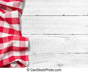 picknick, hout, achtergrond, gecontroleerde, tafel, tafelkleed, witte