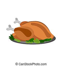 picknick, illustratie, etiket, achtergrond., chicken, vector, icon., witte , style., spotprent, bbq