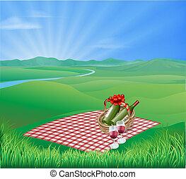 picknick, landschaftsbild