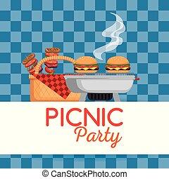 Party, picknick, einladung. Feiern, picnic., personengruppe.