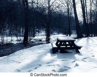 picknick, schnee