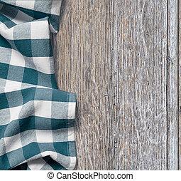 picknick, tuch, aus, altes , holztisch, grunge, hintergrund