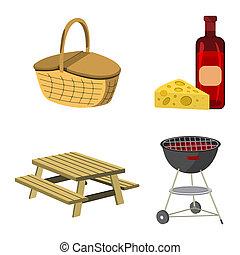 picknick, vector, icon., spotprent, set, witte , style., etiket, illustratie, bbq, achtergrond.