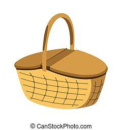 picknick, vector, mand, icon., spotprent, witte , style., etiket, illustratie, bbq, achtergrond.