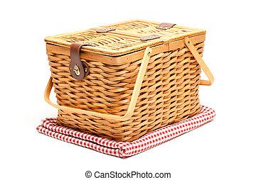 picknicken korb, und, gefaltet, decke, freigestellt