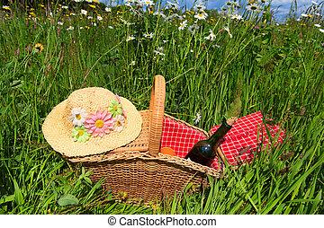 picknicken mand, in, zomer, bloem, akker