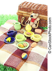picknicken, med, boll