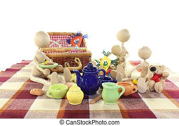picknicken, med, familj, och, glada
