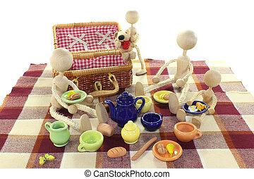 picknicken, med, familj