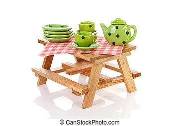 picknicken tisch, mit, grün, punktiert, tablewear